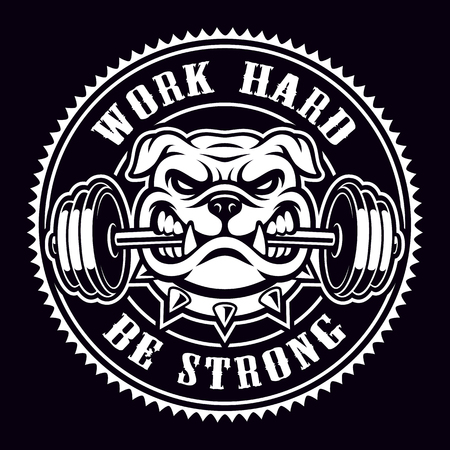Vintage badge of a bulldog with dumbbell for gym theme.