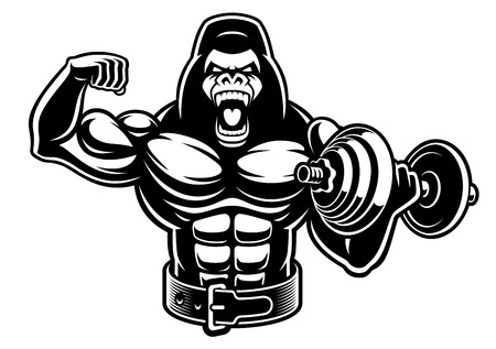 Vector illustration of a muscled gorilla with dumbbell Фото со стока - 116811137