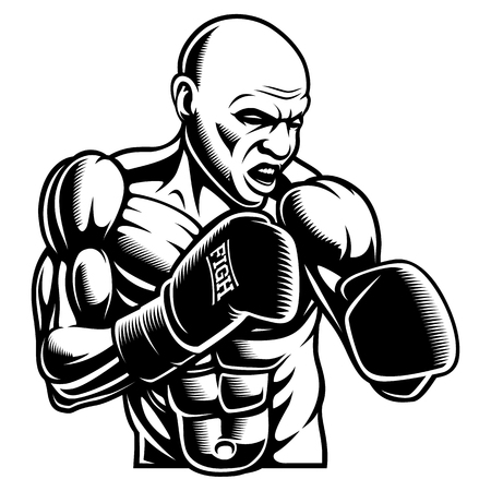 Black white illustration of box fighter, isolated on the dark background. Illustration