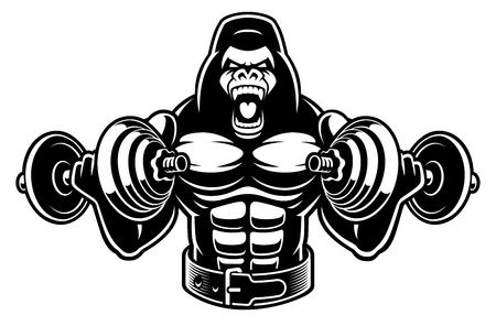 Vector illustration of a gorilla bodybuilder with dumbbells Фото со стока - 116811227