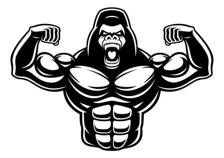 Black and white illustration of gorilla bodybuilder.
