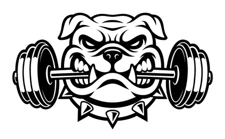 Schwarz-Weiß-Darstellung einer Bulldogge mit Hantel Vektorgrafik