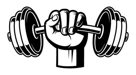 Black and white illustration of a hand with dumbbell. Illustration