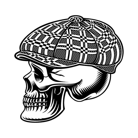 Black and white  illustration of a bully skull in cap