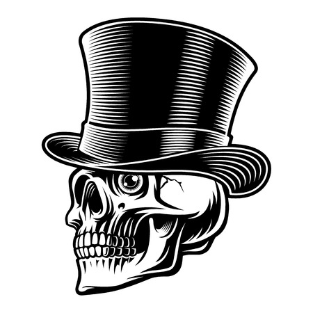 Black and white illustration of a skull in top hat