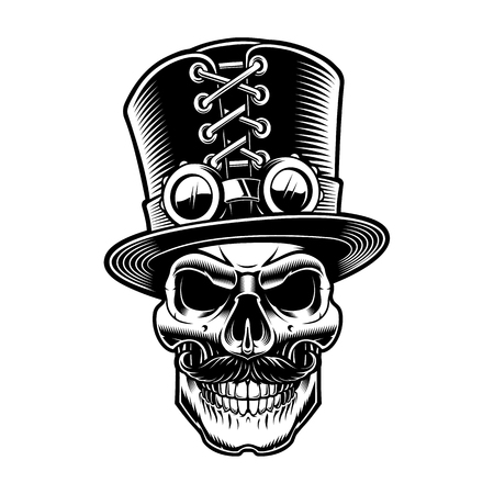 Black and white steampunk skull, isolated on the white background.