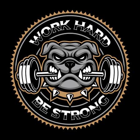 Macot bodybuilding vintage sullo sfondo scuro