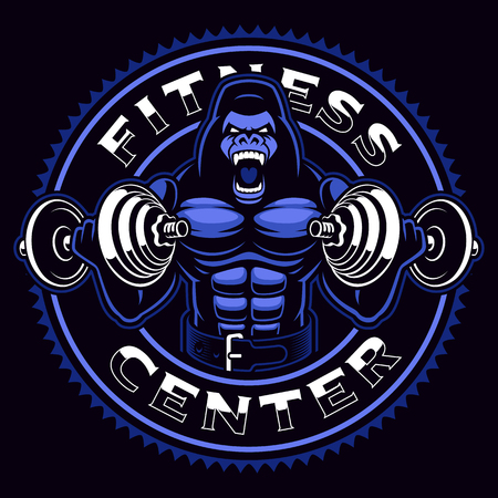 Sport mascot of a gorilla bodybuilder with dumbbells Illustration