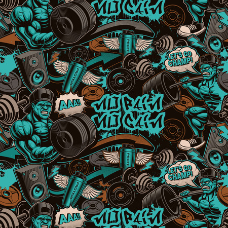 seamless pattern for gym in graffiti style with cartoony characters and design elements. 向量圖像
