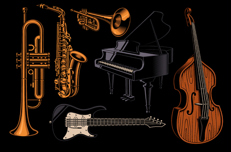 Set of vector illustrations of  different musical instruments. Фото со стока - 116811360