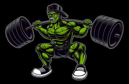 Coloured vector illustration of a bodybuilder with barbell, isolated on the dark background.