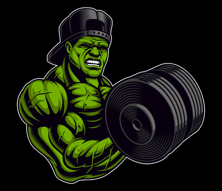 Coloured illustration of a bodybuilder with dumbbell, isolated on the dark background.