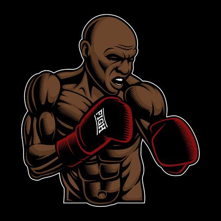 Illustrazione colorata di box fighter sullo sfondo scuro