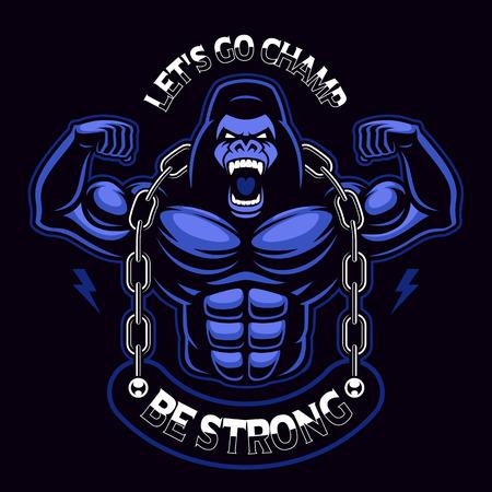 Illustrazione vettoriale di un gorilla muscoloso con catena.