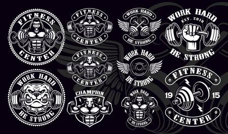 Set of vintage badges, logos, shirt designs for gym. Иллюстрация