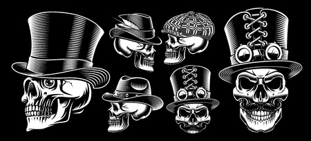 Set of black and white vector skulls in different head wears, isolated on the dark background.