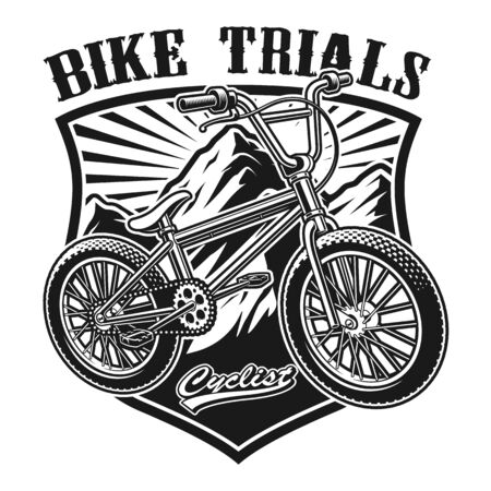 Vector illustration of a badge of bmx bike