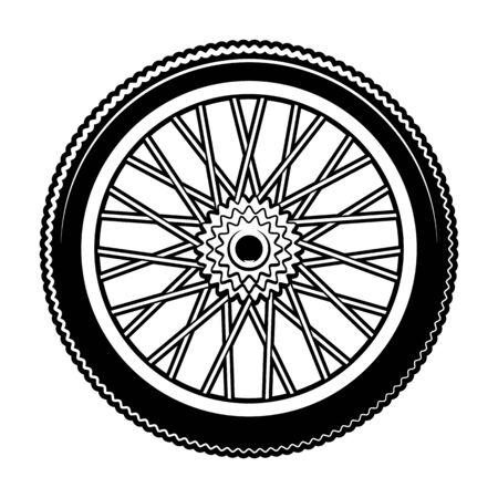 Black and white vector illustration of bicycle wheel Illustration