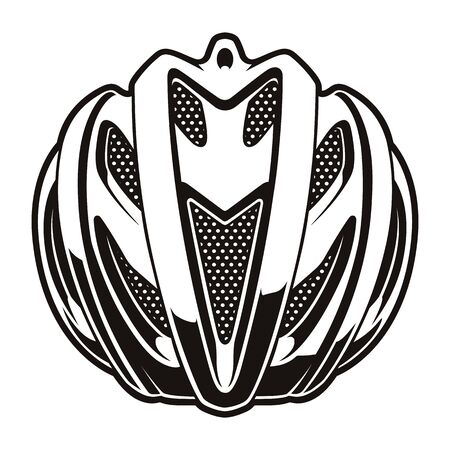 black and white vector illustration of a cyclist helmet Illustration