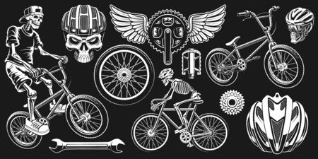 Cyclist clip art on the dark background. 일러스트