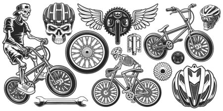 Set of black and white design elements for bicycle theme.