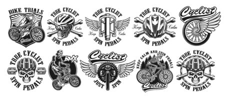 Set of vintage designs of bycicle theme Illustration