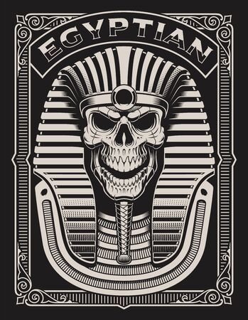 Black and white illustration of an Egyptian Skull on the dark background 일러스트
