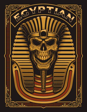 Vector illustration of an Egyptian Skull on the dark background