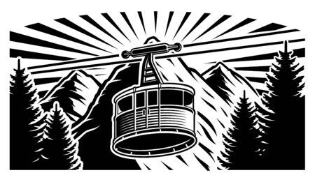 Vector illustration of a funicular and mountains 일러스트