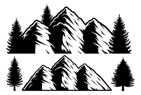 Black and white vector illustration of mountains and trees