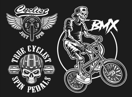 Set of vector black and white designs for bicycle theme Illustration