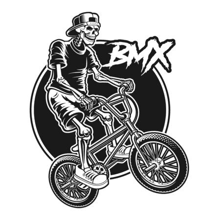 Shirt design of a skeleton is jumping on bmx bike.