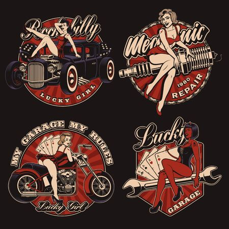 Set of vintage pin up girls on the dark background Illustration