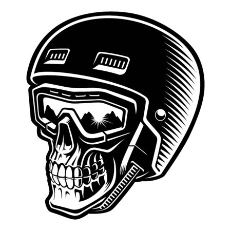 Black and white vector illustration of a skier skull 일러스트