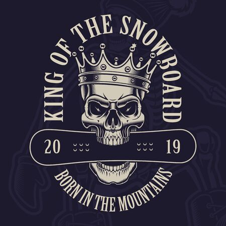 Vector illustration of a skull in crown with a snowboard