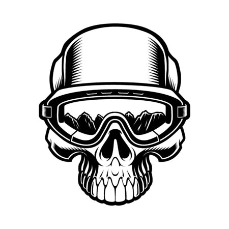 Black and white illustration of a skull in ski glasses Illustration