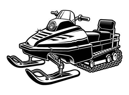 Illustration en noir et blanc d'une motoneige Vecteurs