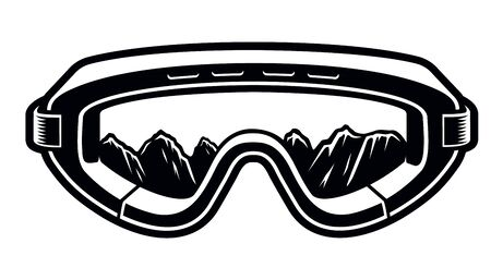 Black and white vector illustration of a ski glasses