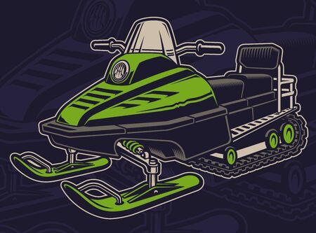 Vector illustration d'une motoneige sur fond sombre