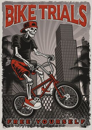 Black and white poster of a skeleton is jumping on bike in the city. Illustration