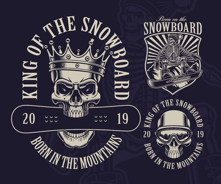 Vector illustrations of snowboard theme with skulls