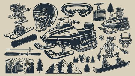 Set of black and white vector illustrations of winter sport 일러스트