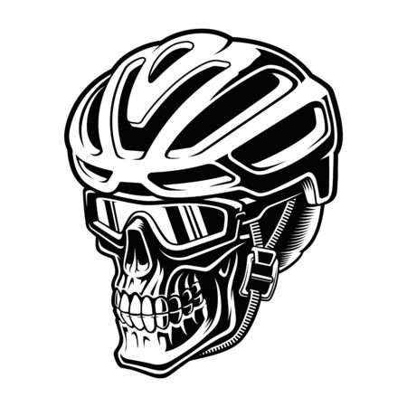 Vector illustration of a cyclist skull in helmet
