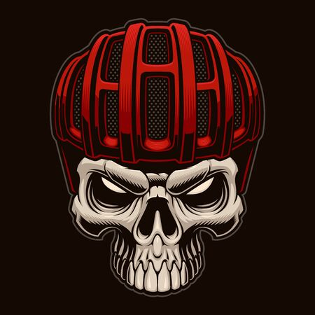 Vector colorful illustration of a skull in cyclist helmet