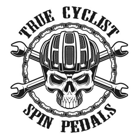 Black and white vector illustration of skull in cyclist helm 일러스트