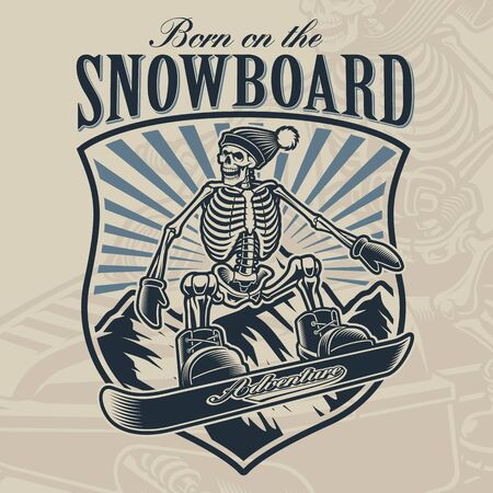 Vintage badge of a skeleton on the snowboard