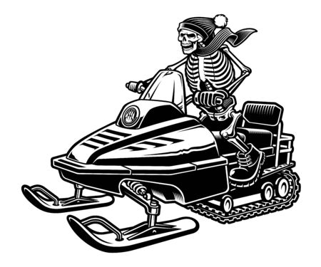 Vector illustration of a skeleton on the snowmobile