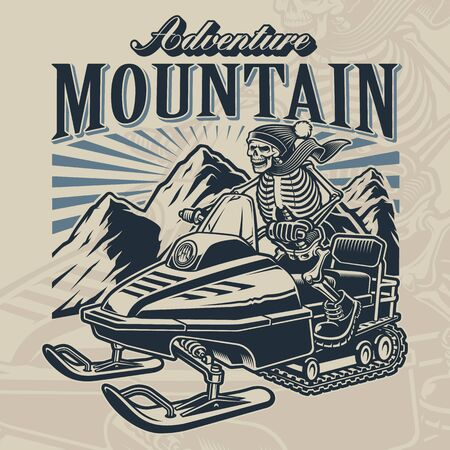 Vector illustration of a skeleton on snowmobile with mountains.