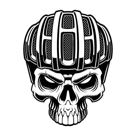 Vector illustration of a cyclist skull on white background 일러스트