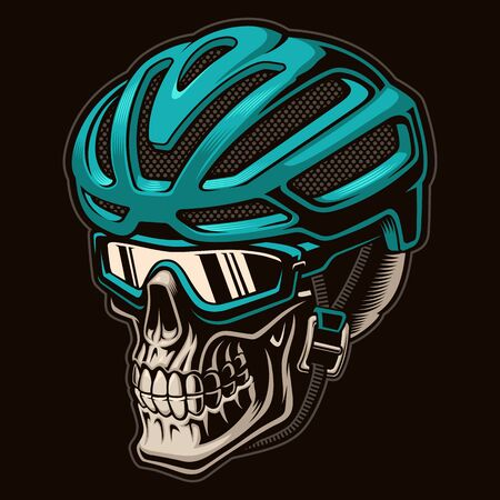 Vector colourful illustration of a skull cyclist in helmet 일러스트